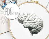 Modern cross stitch pattern BRAIN anatomical hand embroidery design, organ cross stitch brains, gobelin wall decor pillow counted chart pdf
