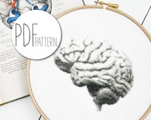Modern cross stitch pattern BRAIN anatomical hand embroidery design, organ cross stitch brains, gobelin wall decor pillow counted chart pdf