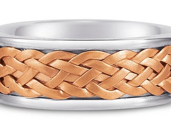 Weaved Wedding Band Two Tone Gold