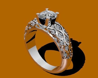 Platinum Engagement Ring Diamond Engagement Ring with 6.5mm Round Charles & Colvard Forever One Moissanite Ctr Fine Jewelry - V1040