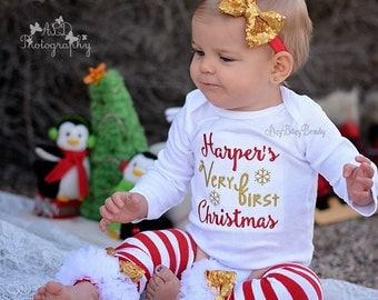 My Very First Christmas - Girls Christmas Outfit - Red And Gold - Personalized Embroidered Bodysuit - First Christmas Bodysuit - Leg Warmers