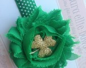 Lucky St Patricks Day Baby Headband Green Four Leaf Clovwe