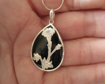 "Sterling Silver Faceted Onyx And Flower Terdrop Pendant Necklace 17"" (1066)"