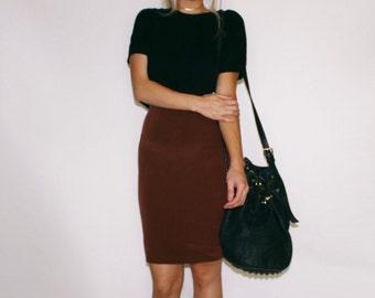 VTG 100% Silk Ginger Brown Pencil Skirt Medium