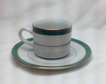 Vintage Muirfield Royal Jade Demitasse Tea Cup and Saucer Set Stripe Gold White Porcelain 8944 Sri Lanka