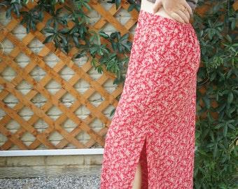 Floral Flowy Maxi Skirt W Leg Slit