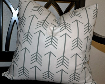 20 x 20 Pillow Cover, White and Gray Arrow Pillow Cover, Throw Pillow Cover, Ready to Ship!