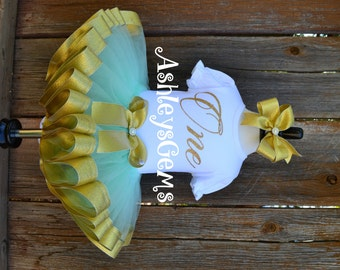 Gold and Mint, Gold One Onesie, Teal Tutu, One Year Old Girl Birthday Outfit, Gold First Birthday Outfit, Mint Baby Dress, Mint Tutu