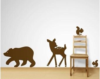 Bear, Deer and Squirrels Wall Decals Sticker Nursery Decor Art Mural - FREE SHIPPING!