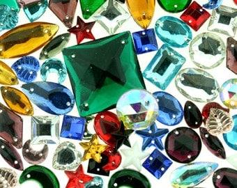 Glass Jewel with holes Assortment (6 oz Bag)