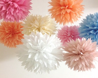 10 Bachelorette Pompoms, Pew Decorations, Baby Shower Tissue Paper Pom Poms, Pick Your Colors, Wedding Aisle Decoration, Wedding Pompoms