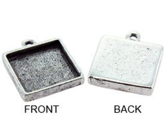"Square Pendant  1/2"" Diameter Silver Plated with Ring (3000SP-33)"