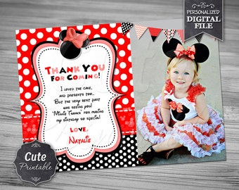 Minnie Mouse Thank you card, Minnie, Thank you card, Minnie Red Thank you, Minnie Birthday, Polka Dot