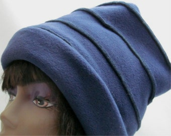 "Navy Blue Slinky ""Fleece Box"" Hat"