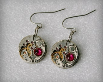 Steampunk Earrings with Ruby Swarovski crystals and Vintage Mechanical Watch Movement  , Clockwork  Earrings , Steampunk jewelry