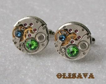 SALE...Watch Movement Cufflinks - Steampunk Cufflinks with  Fern Green Swarovski crystals . Steampunk jewelry