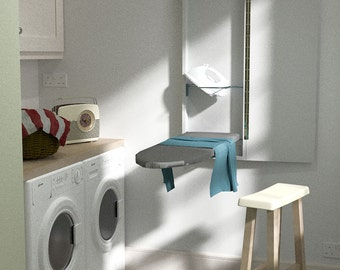 Compact Wall Mounted Ironing Board White Wall Fixing Plate