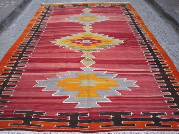 Free shipping,Home decor,Vintage,Kilim,Home Living,Turkish Kilim Rug,Decorative Kilim Rug,Handwoven kilim rug, 9'8x7'2  feet(295x220)cm.