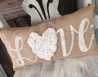Love 18' x 9' Burlap Pillow