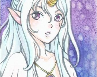 ACEO Artist Trading Card Original - Unicorn Girl