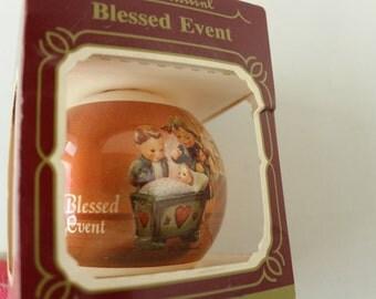 Groebel Glass Ornament, Blessed Event by M.I. Hummel, Hummelwerk, 1983, Christmas Tree Ornament, In Box