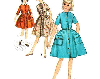 Simplicity Sewing Pattern 4569 Girl's Dress with detachable collar - estimated vintage 1960's  Size:  14  Used