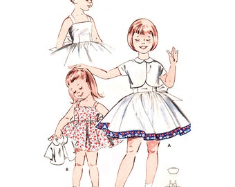 Butterick Sewing Pattern 9424 Girl's Dress, Jacket - estimated vintage 1950's  Size:  6  Breast 24  Uncut