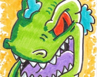 """Rugrats Reptar card ACEO artist trading card  2 1/2"""" x 3 1/2"""""""