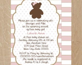 Girl baby shower invitation, Teddy Bear baby shower Invite, Teddy Bear Party invite, teddy bear shower invites, digital invitations