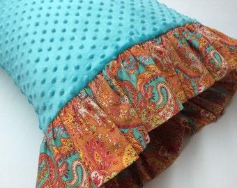 Minky Dot Pillowcase,  Teal Minky Dot with Orange Paisley Print Ruffles