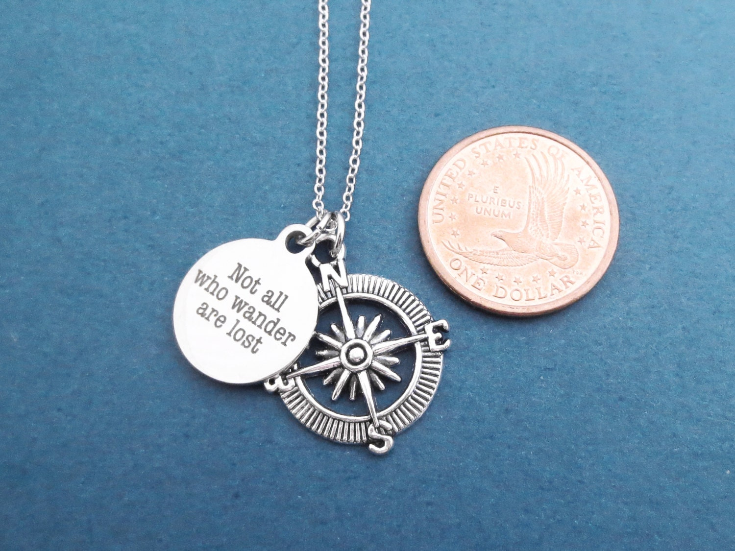 Not all who wander are lost compass silver necklace for Birthday gifts for travel lovers
