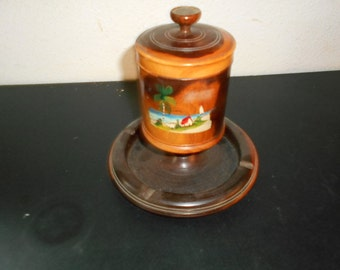 1950s wooden  had painted Jamaican Souvenir humidor ashtray cigarette tobbaco holder island theme