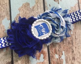 DUKE University BLUE DEVILS shabby flower headband Baby Little Girl Hair Bow - Photo Prop