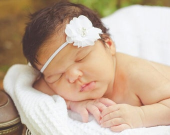 White Chiffon Headband, Christening Headband, Baptism Headband, White Skinny Headband, White Chiffon Headband, White Baby Headband