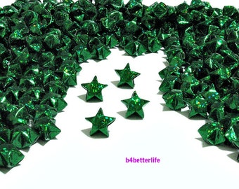 500pcs Green Color Medium Size Origami Green Stars Hand-folded From 24.5 x 1.2cm Paper Strips. (4D Glittering paper series). #FOS-13.