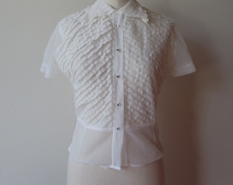 50's Adelaar sheer lace blouse rhinestone buttons size 8