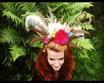 Flower and feather headdress
