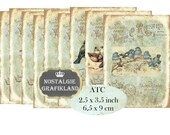 Vintage Birds Labels ATC Instant Download digital collage sheet S118