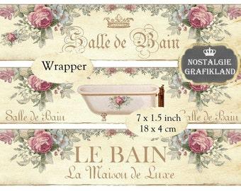 Salle de Bain Bath Bathroom Shabby Chic Wrapper Instant Download digital collage sheet E098