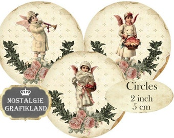 Victorian Christmas Vintage Angels Cherubs Cupids Circles 2 inch Vintage Christmas Instant Download digital collage sheet C298