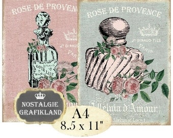 Shabby Chic Perfume Bottles Eau de Cologne Fragrant Transfer A4 Instant Download digital collage sheet A124