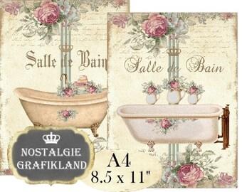 Bath Shabby Chic Salle de Bain Bathroom A4 Instant Download digital collage sheet A111