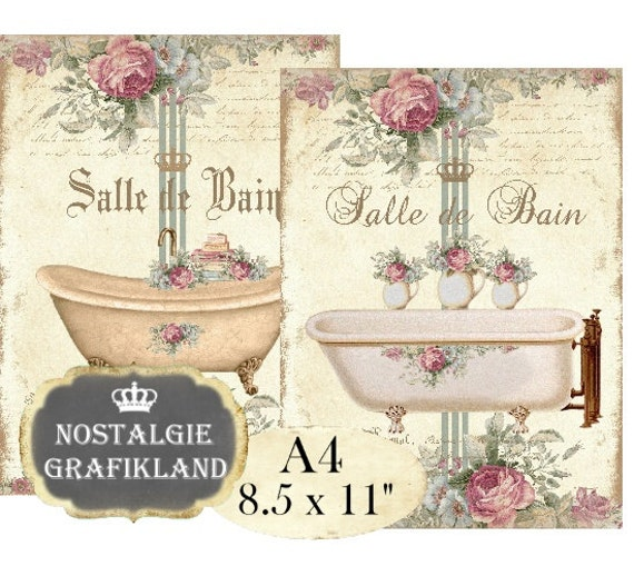 bath shabby chic salle de bain bathroom a4 instant download. Black Bedroom Furniture Sets. Home Design Ideas