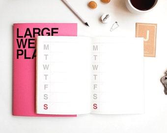 Large Weekly Planner Notebook [Hot Pink] / Weekly Diary Journal / Weekly Planner