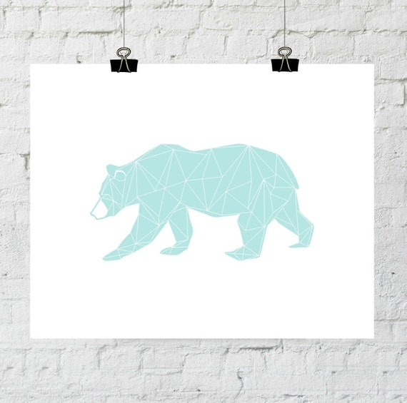 Turquoise Bear Print, Geometric Bear Art, Bear Wall Art, Geometric Bear Print, Wall Prints, Triangle Bear Art, Bear