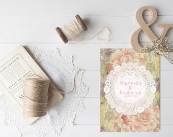 Save The Date Cards for Shabby Chic Weddings / PRINTED 5x7 Save-The-Date Card by The Roche Shop / Vintage Doily Doilies Doilly Doillies