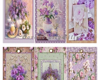 6 Pretty Purple Floral Tags. (DOWNLOAD)