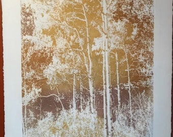 "Paula Crane ""Gold Rush"" Hand Signed and Numbered Etching Landscape, Mid Century"