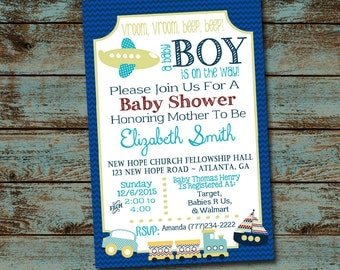 Vroom Vroom A Baby Boy Is On the Way! Baby Shower Invitation, Blue Transportation Shower, Car Train Airplane Boat Digital Invitation DIY