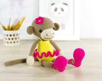 PATTERN: Monkey Ballerina - Crochet pattern - Amigurumi tutorial with photos (EN-060)